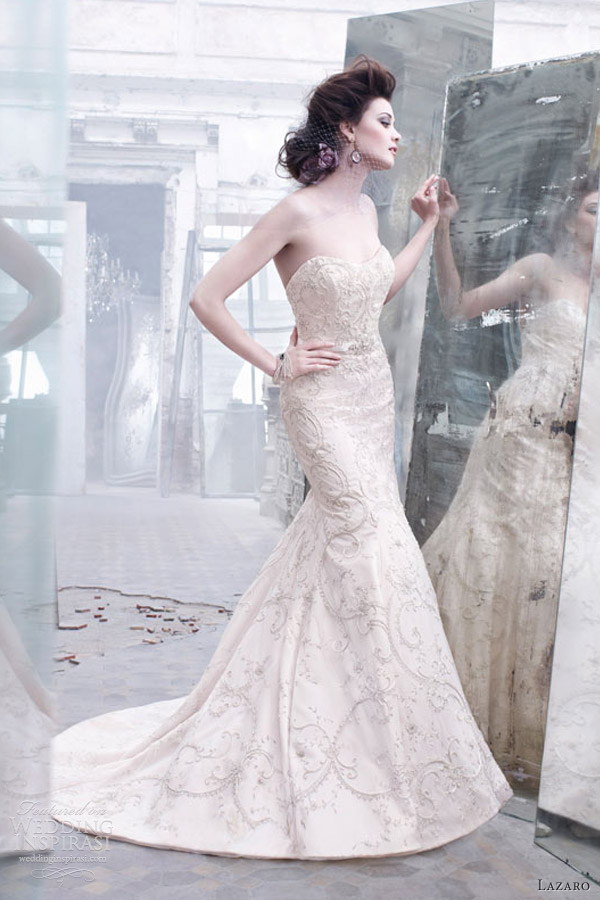 lazaro wedding dresses fall 2012 embroidered tulle silk gown sweetheart belt jewel fit flare chapel train 3262