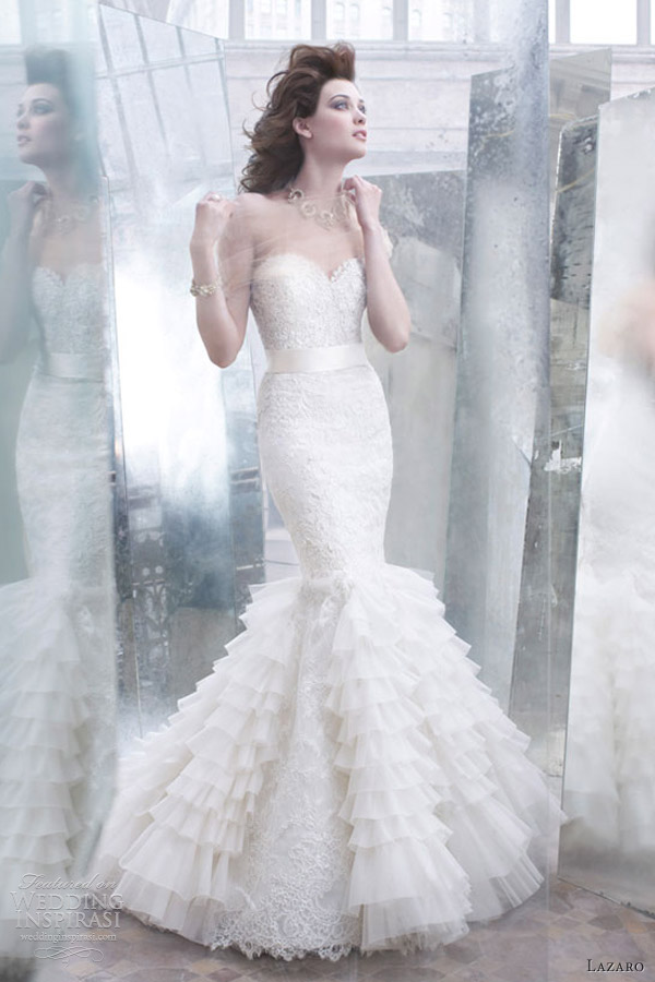 lazaro wedding dresses fall 2012 lace pleated mermaid gown sweetheart corseted silk ribbon belt 3258