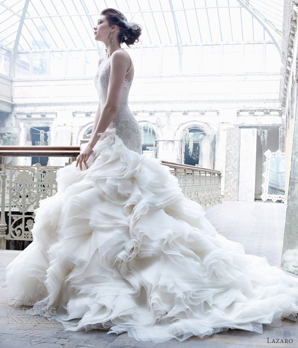 lazaro wedding dresses fall 2012 organza ball gown sweetheart neckline jewel tulle corseted lace asymmetrical chapel train 3253