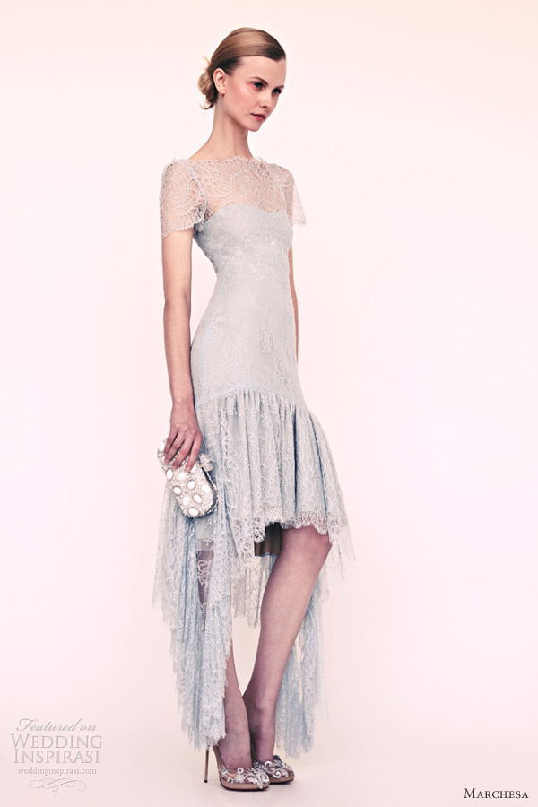 marchesa resort 2013 high low lace dress short sleeves