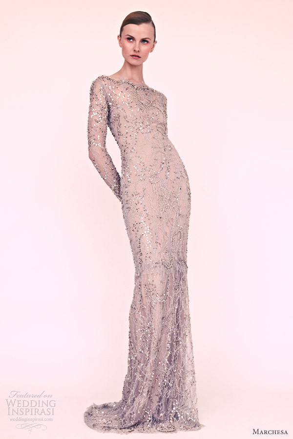 marchesa resort 2013 long sleeve column gown dove grey
