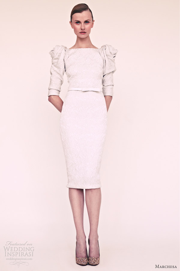 marchesa resort 2013 short white dress puff sleeves