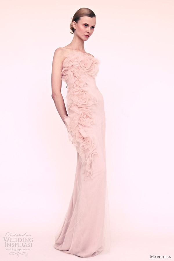marchesa resort 2013 strapless blush dress rosettes