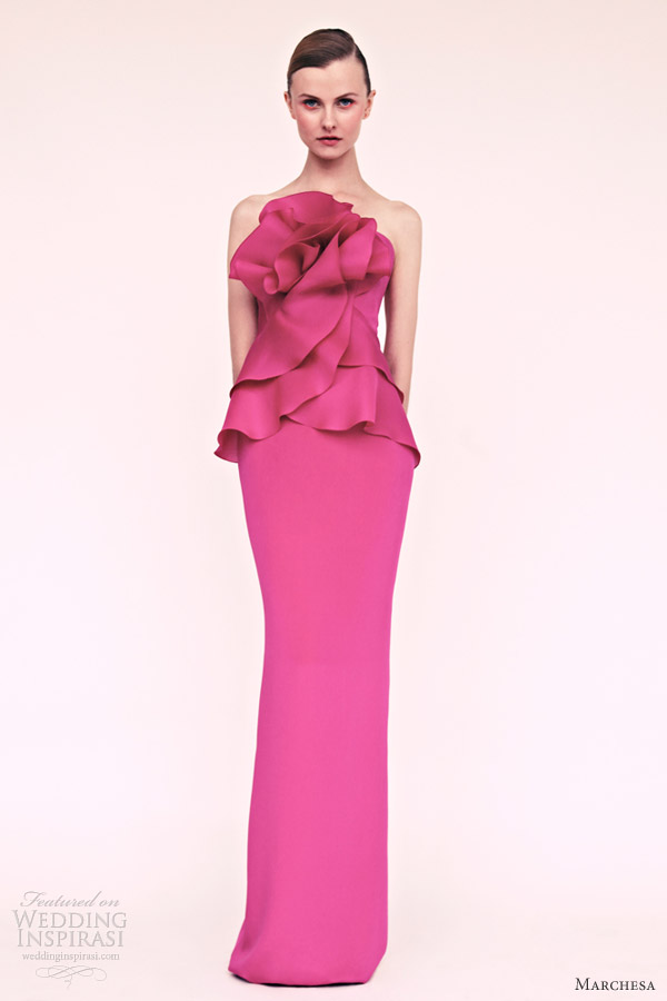 marchesa resort 2013 strapless pink column gown