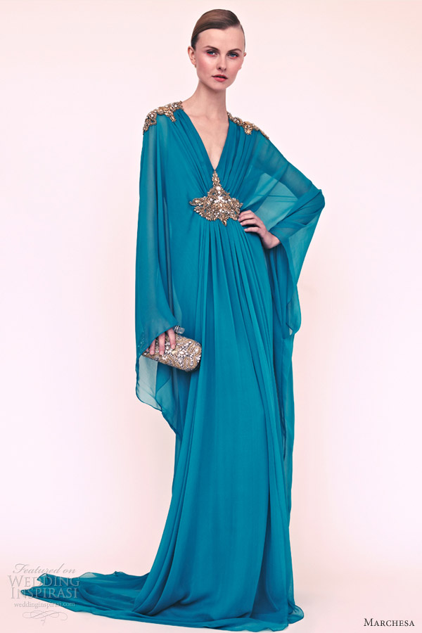 marchesa resort 2013 turquoise kaftan long sleeve caftan