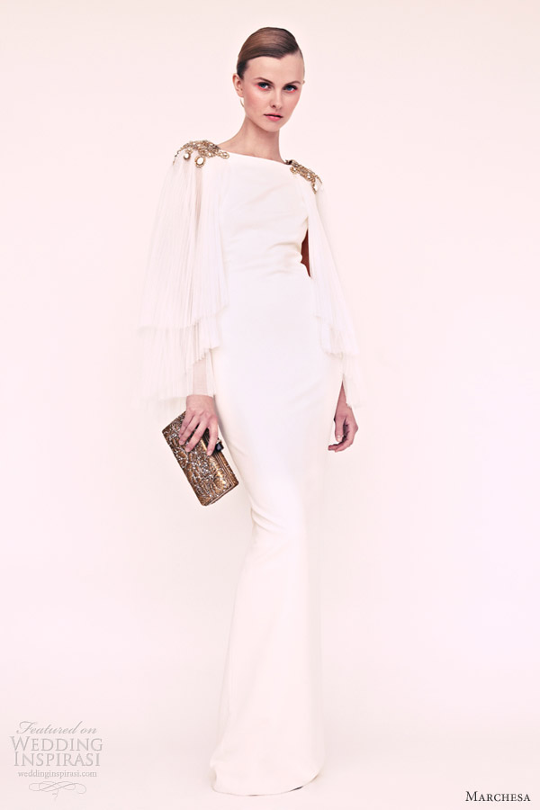 marchesa resort 2013 white long sleeve gown