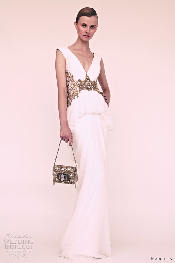 marchesa resort 2013 white sleeveless gown