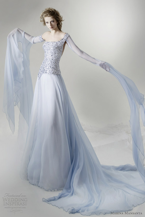 Marina mansanta wedding dresses ninfe bridal collection for Light blue dress for wedding