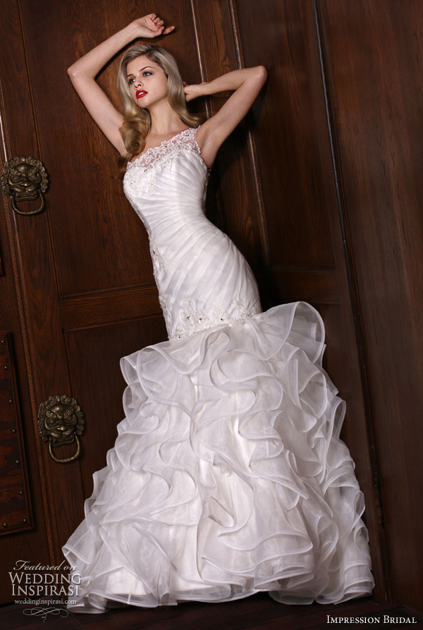 mermaid gown ruffle one shoulder wedding dresses 10132