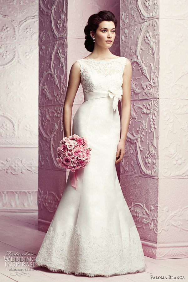 paloma blanca bateau neckline mermaid empire wedding dress style 4263
