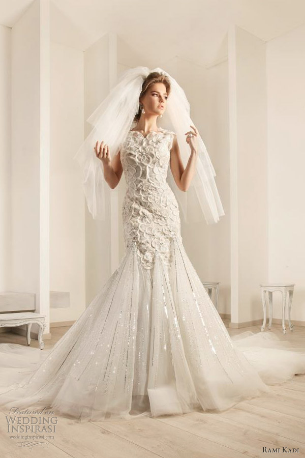rami kadi bridal 2012 embroidered flowers tulle wedding dress