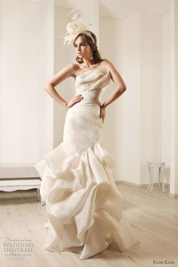 silk jacquard draped wedding dress rami kadi bridal 2012