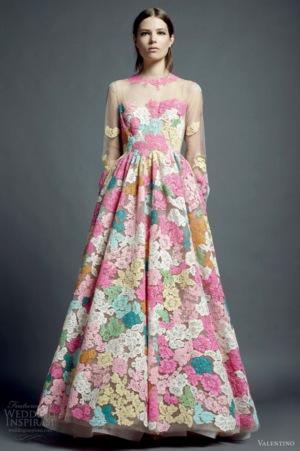 valentino resort 2013 multi color lace dress illusion long sleeves