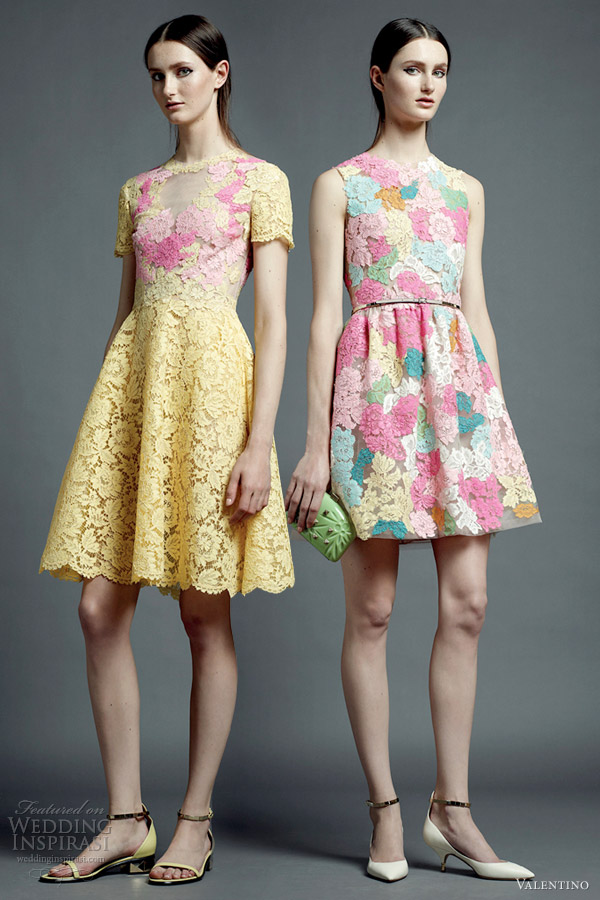 valentino resort 2013 multi color lace short dresses