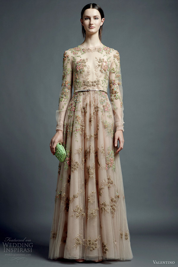 valentino resort 2013 nude floral dress long sleeves