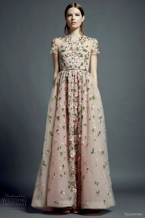 valentino resort 2013 nude floral dress short sleeves