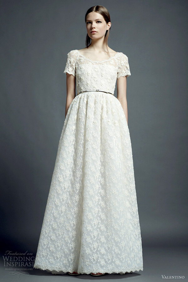 valentino resort 2013 white lace wedding dress short sleeves