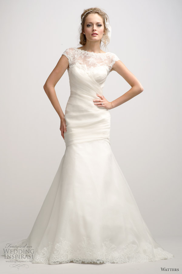 watters fall 2012 cap sleeve wedding dress illusion neckline