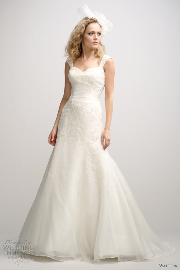 watters fall 2012 fit flare wedding dress straps
