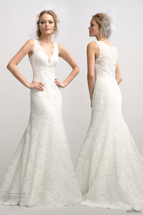 watters fall 2012 sleeveless lace fit flare wedding dress v neck