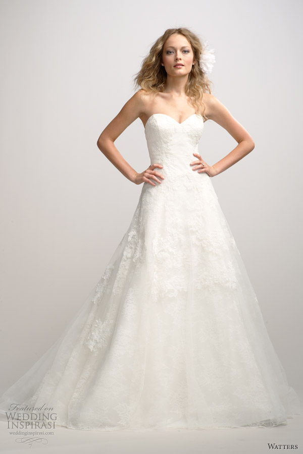watters fall 2012 strapless a line wedding dress