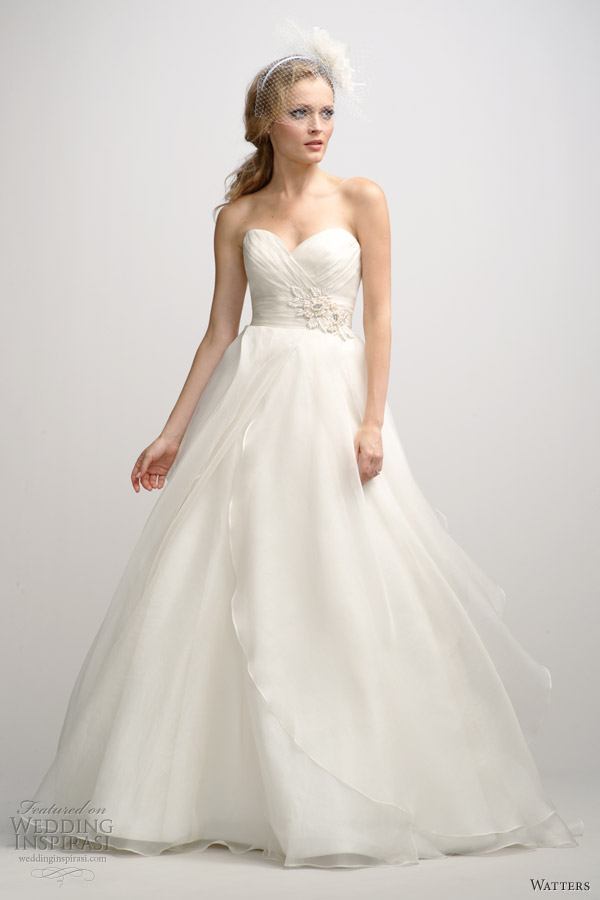 watters fall 2012 strapless ball gown wedding dress