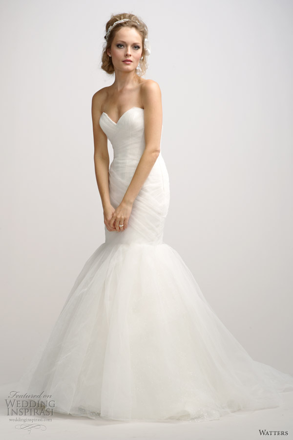 watters fall 2012 strapless mermaid wedding dress