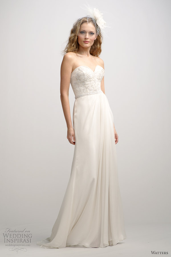 watters fall 2012 strapless wedding dress column skirt