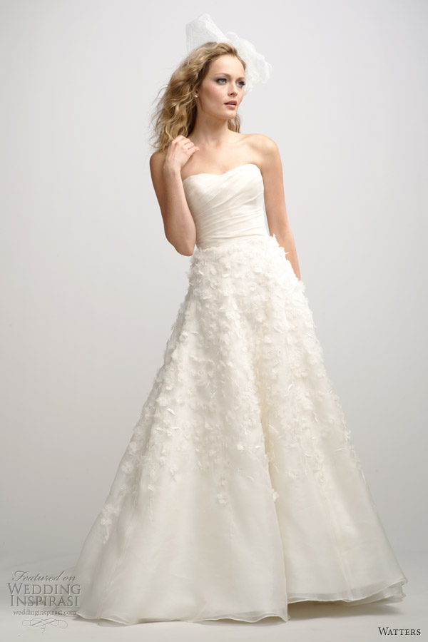 watters fall 2012 strapless wedding dress floral applique