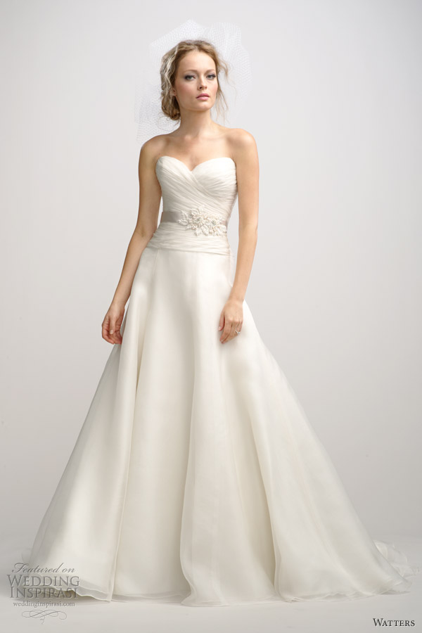 watters fall 2012 strapless wedding dress ruched bodice