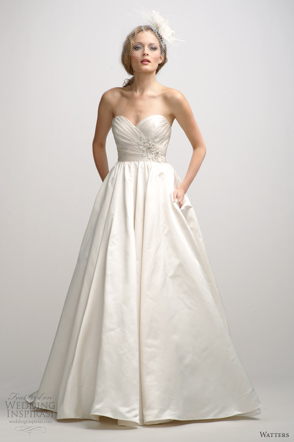 watters fall 2012 strapless wedding dress with pockets