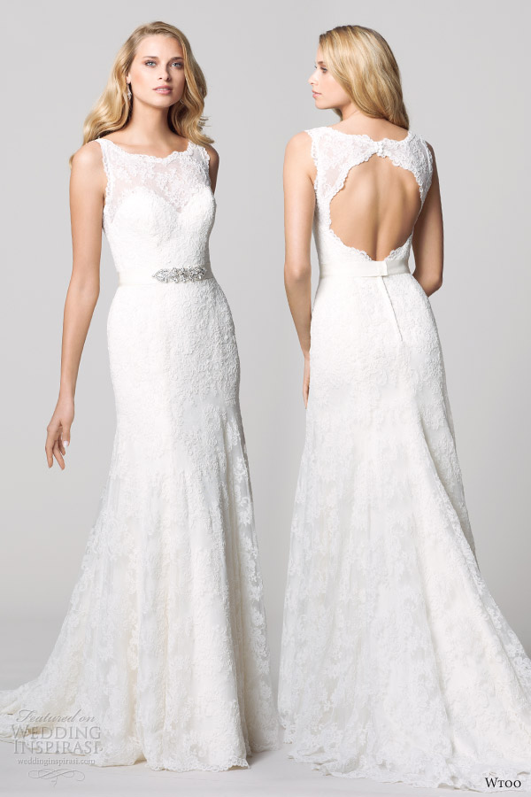 watters wtoo fall 2012 sleeveless lace sheath weding dress open back