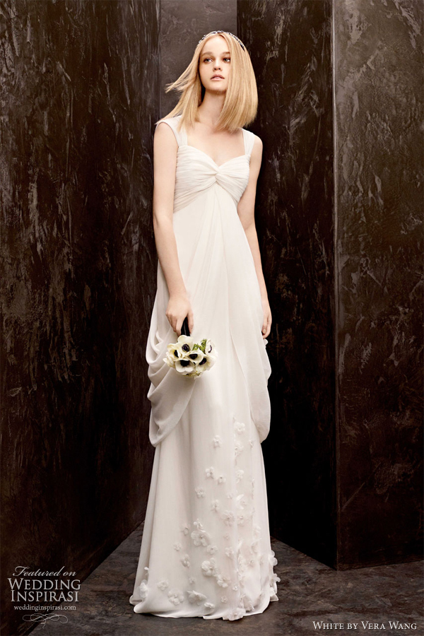 white by vera wang fall 2012 empire draped wedding dress