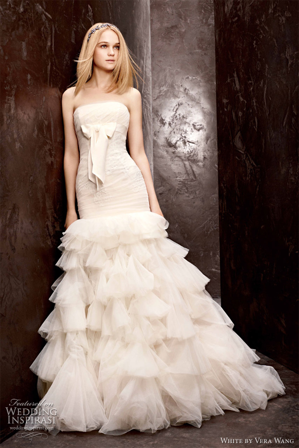 white by vera wang wedding dresses fall 2012 strapless fit flare ruffle gown