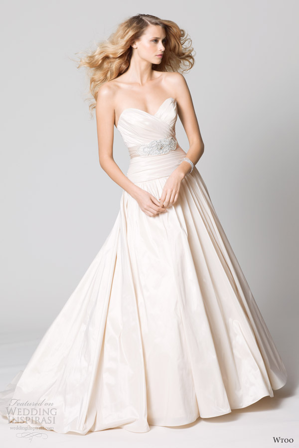 wtoo fall 2012 blush strapless wedding dress pleated bodice
