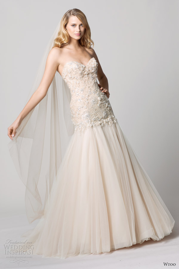 wtoo fall 2012 oatmeal blush strapless color wedding dress
