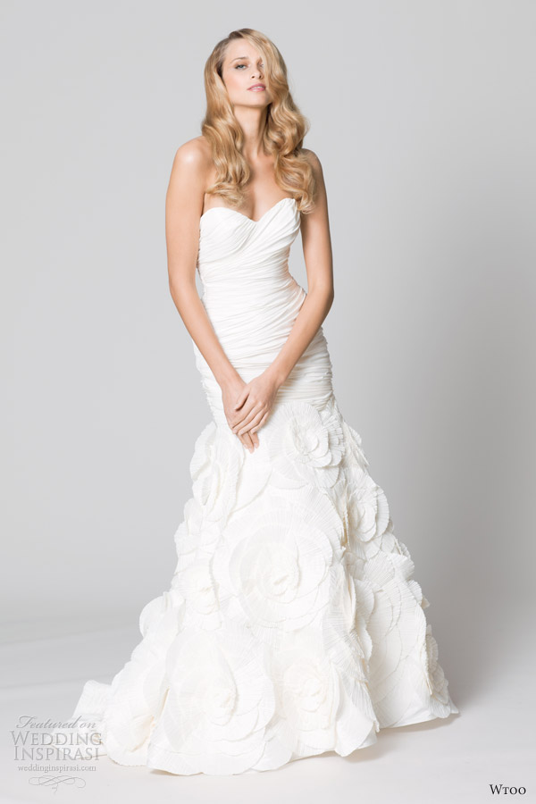 wtoo fall 2012 strapless mermaid wedding dress floral skirt