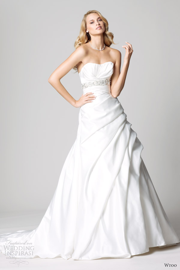 wtoo fall 2012 strapless wedding dresses side gathers