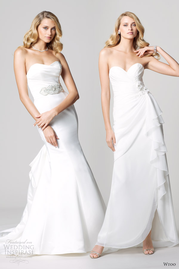 wtoo fall 2012 strapless wedding dresses waist accent