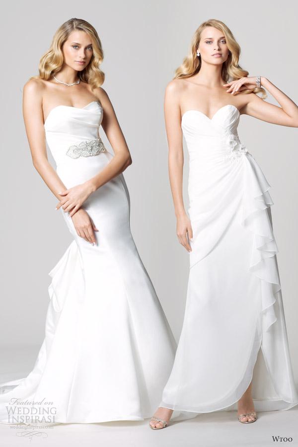 wtoo fall 2012 strapless wedding dresses waist accent