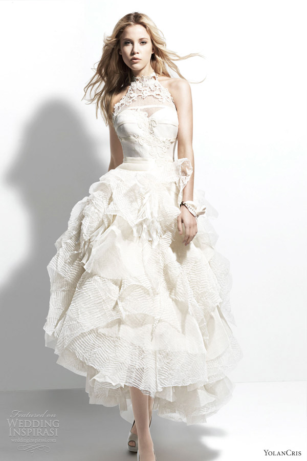 yolan cris 2013 manila halter neck wedding dress voluminous skirt