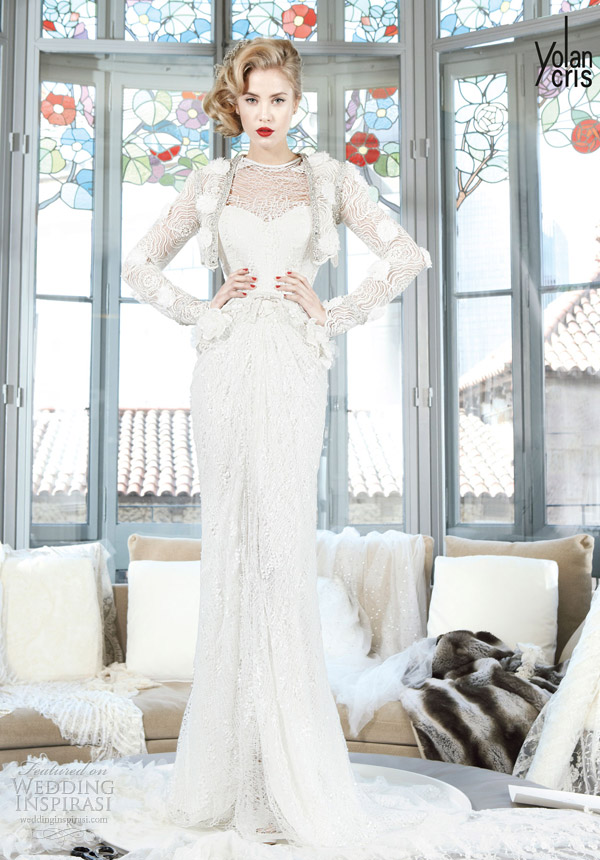yolancris 2013 couture bridal pompeya wedding dress long sleeve jacket