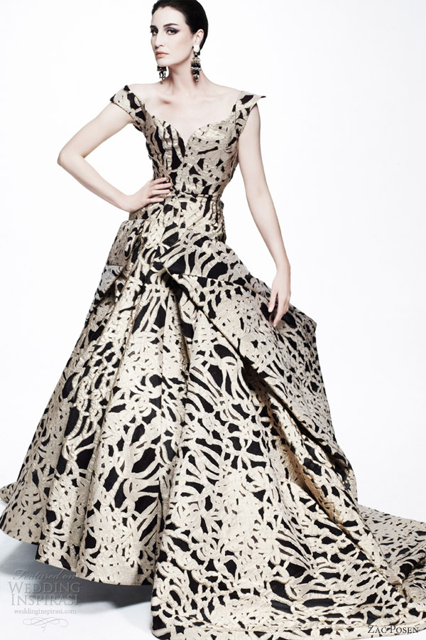 zac posen resort 2013 off shoulder straps printed ball gown