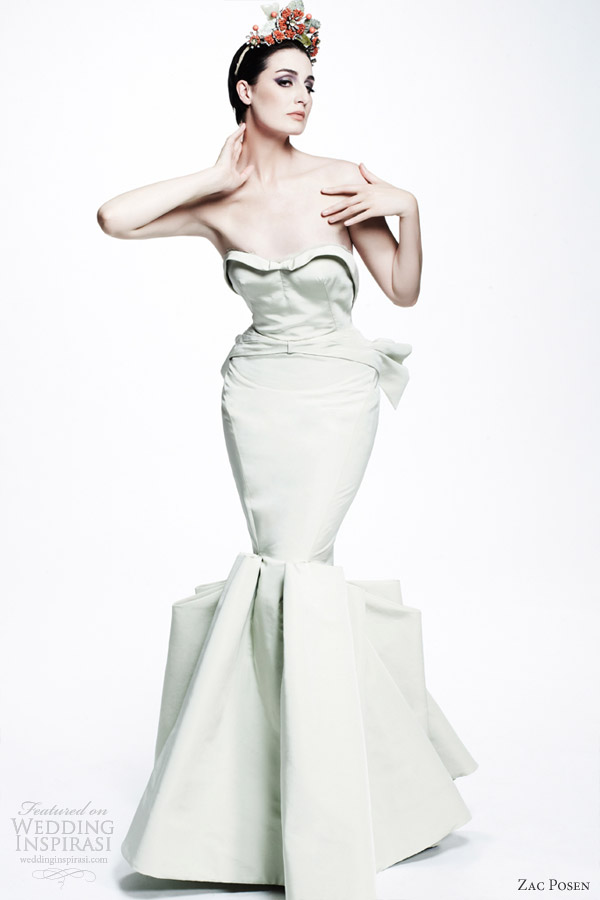 zac posen resort 2013 pale mint strapless mermaid gown