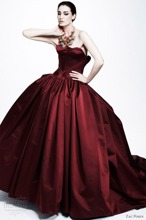 zac posen resort 2013 strapless wine red ball gown