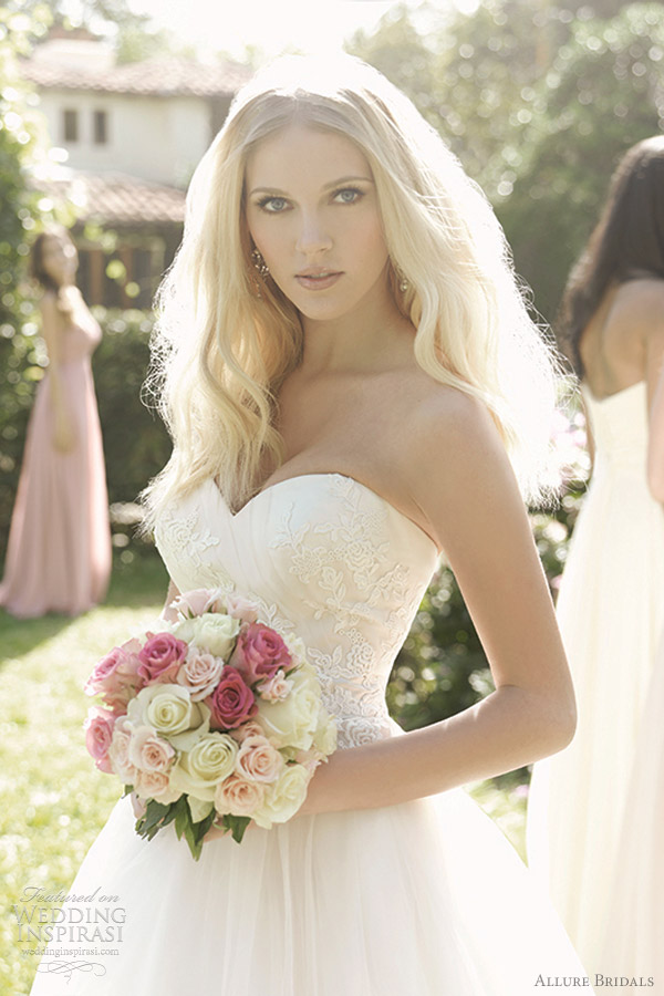 allure bridals romance style 2566 strapless tulle ball gown wedding dress