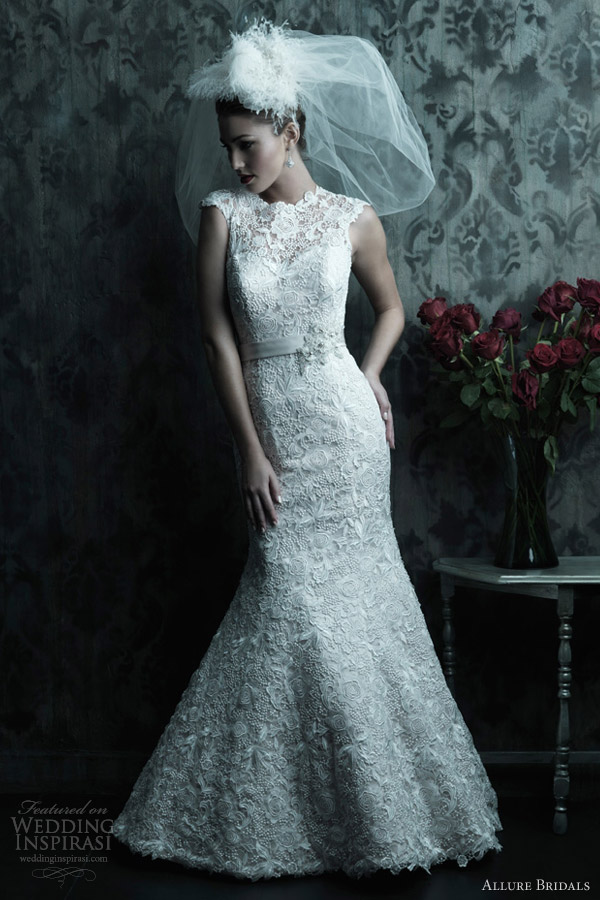 allure couture c226 sleeveless lace wedding dress