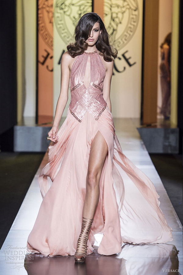 atelier versace fall 2012 couture pale pink gown cutout slit