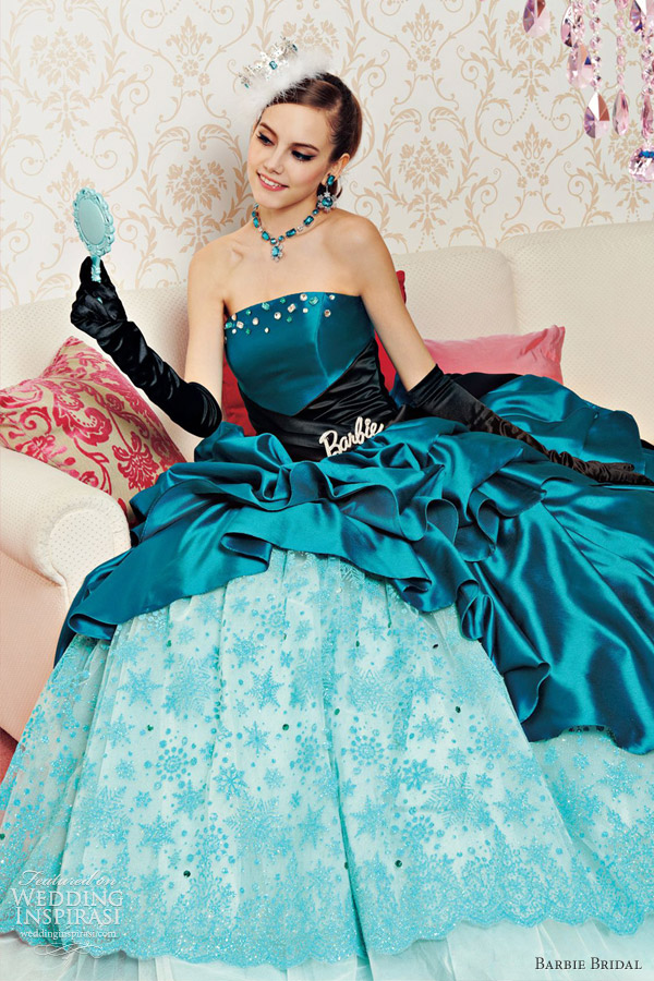 barbie bridal blue wedding dress ball gown 2012