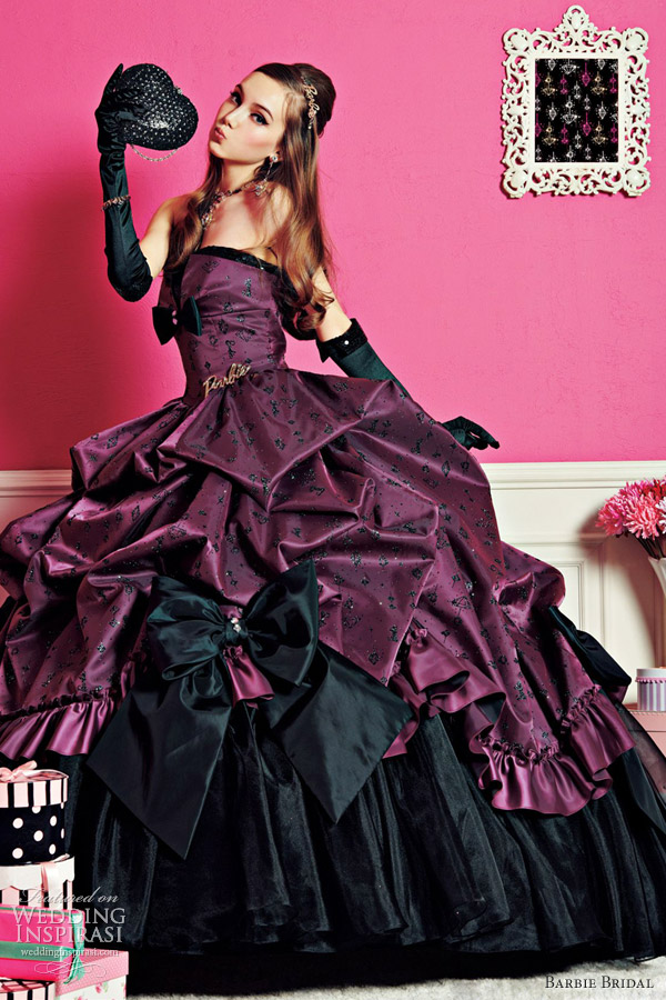 barbie bridal hot deep purple bordeaux wine wedding dress